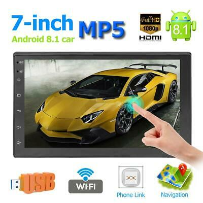 "Android 8.1 OS Quad Core 7"" 2 DIN Car Stereo MP5 Player GPS WiFi BT FM Radio USB"