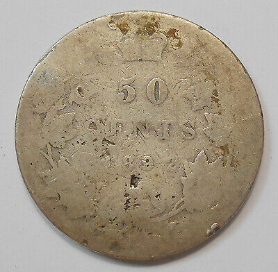 1892 Fifty Cents Filler * SCARCE Date Early Queen Victoria KEY Silver Canada 50¢
