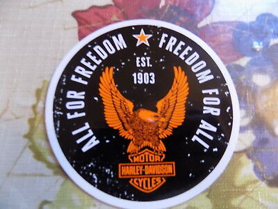 original HARLEY DAVIDSON STICKER ALL FOR FREEDOM/FREEDOM FOR ALL 4 INCHES ROUND