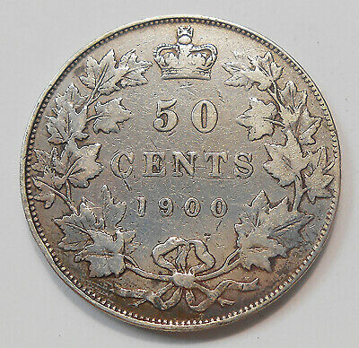 1900 Fifty Cents F-VF ** Very Nice FLASHY Queen Victoria SCARCE Old Canada 50¢