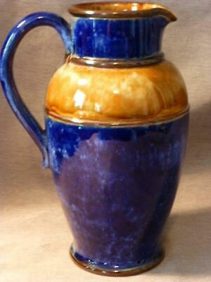"Antique Royal Doulton Lambeth England 7"" Tall Pitcher Jug-Cobalt Blue & Brown"