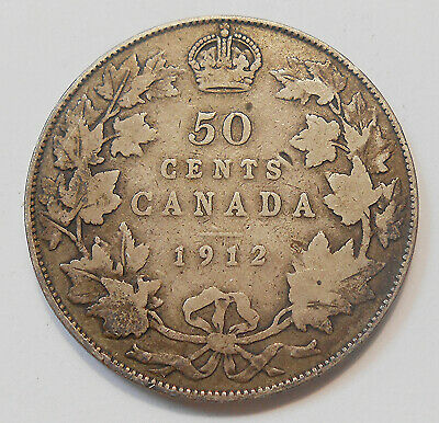 1912 Fifty Cents VG ** NICE Original BETTER Date Early King George V Canada 50¢