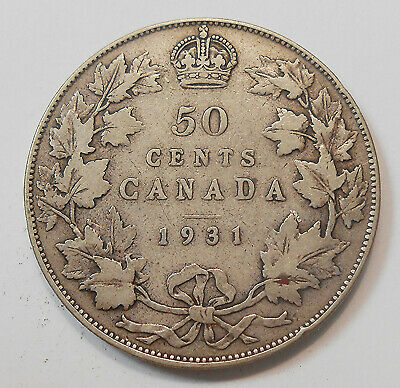 1931 Fifty Cents aF ** SCARCE Date Very LOW Mintage KEY King George V Canada 50¢