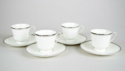 Mikasa Briarcliffe Footed Cups and Saucers Set of 4 Platinum Rim Multiple Sets