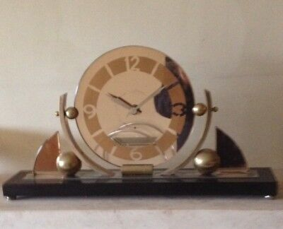 c1930 FRENCH VINTAGE ART DECO / MODERNIST 8 DAY MANTLE CLOCK