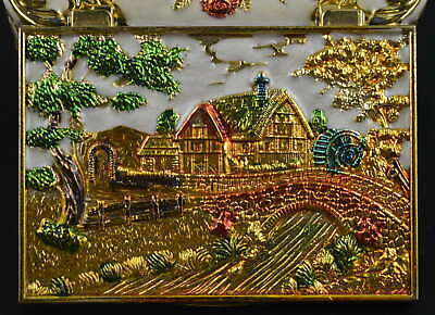 AAA Decorate Cloisonne Carve Village Scenery Noble Ring Jewel Box China Art Gift