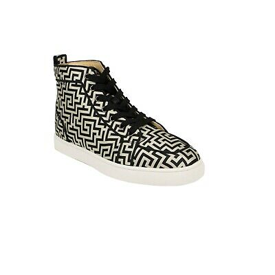 pretty nice 01a59 6a147 NIB CHRISTIAN LOUBOUTIN Black/White Rantus Hi-Top Sneakers Shoes 8 US 41 EU