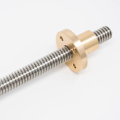Left Hand 1/2-10 Stainless Steel ACME Threaded Rod Lead Screw Brass Nut 12 24 36