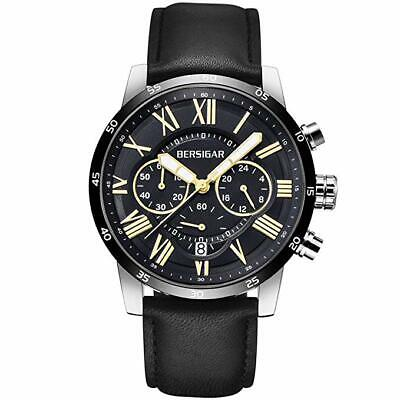 BERSIGAR Waterproof Chronograph Watches Business Casual Roman Numerals Leather B
