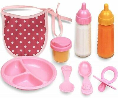 Click N' Play 8 Piece Baby Doll Feeding Set with Accessories.