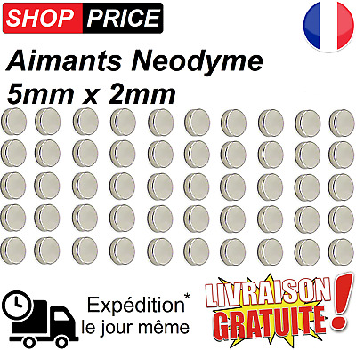 Lot 50 Aimants Frigo Neodyme Neodium Rond Fort Strong Magnet 5 mm x 2 mm (NEUF)