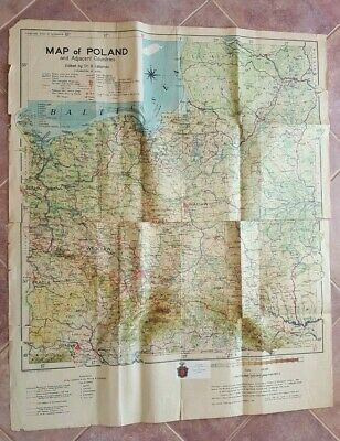 1948 MAP OF POLAND & ADJ. COUNTRIES Printed by George Philip & Son, Ltd.