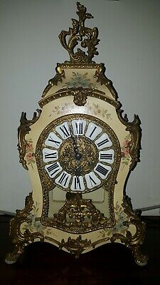 Italian Hermle Cartel mantle clock, inlay and bronze - Style Louis XV, Boulle
