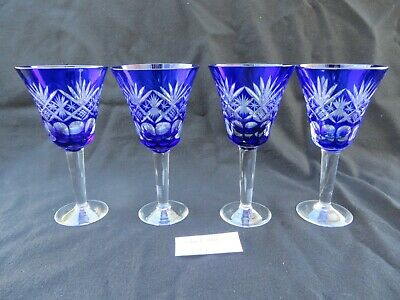 "Set of 4 Cobalt Blue Fan Cut to Clear Glass Wine Glasses 5 7/8""H Lot 1"