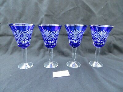 "Set of 4 Cobalt Blue Fan Cut to Clear Glass Wine Glasses 5 7/8""H Lot 2"