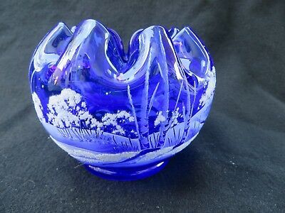 Fenton Glass Rose Bowl Cobalt Blue Hand Painted Winter Snow Scene Signed
