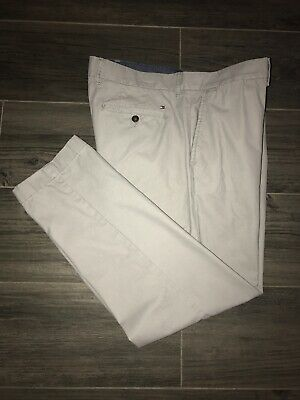 Tommy Hilfiger Tailored Fit Gray Flat Front Chino Pants Size 36x30 EUC