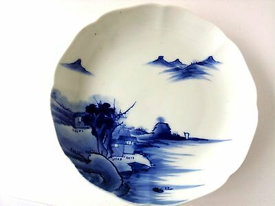 Antique Hand Painted Chinese Japanese Blue & White Porcelain Dish Signed
