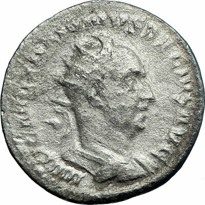 TRAJAN DECIUS 250AD Silver Ancient Roman Coin Nude Genius Protection i77584