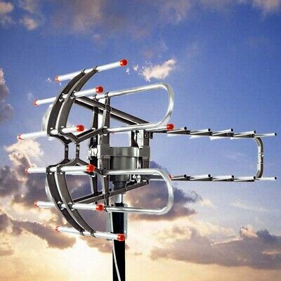 250 Miles Antenna Outdoor Amplified HD TV Digital UHF Rotate 360 ° 22-38dB