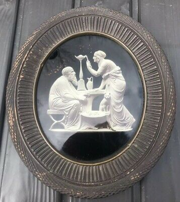 19th Century Rare Antique Reverse On Glass Painting  Greek Roman Statue 2