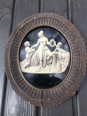 19th Century Rare Antique Reverse On Glass Painting  Greek Roman Statue 1