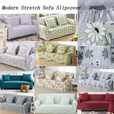1/2/3/4 SEATER PROTECTOR Soft Stretch Sofa Cover Modern Floral Couch ...