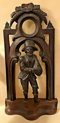 Antique Black Forest German Victorian Carved Figural Pocket Watch Stand Display