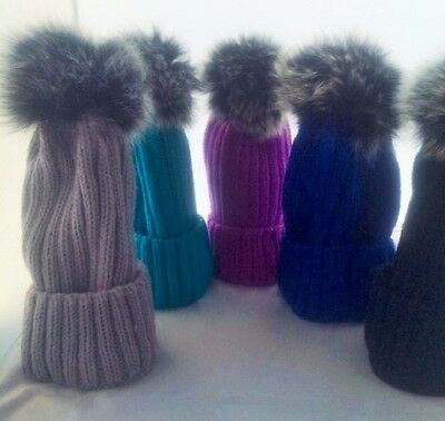 Real Grey Fox Fur Pom Pom Beanie Luxury Ski Winter Bobble Hat Many Colours