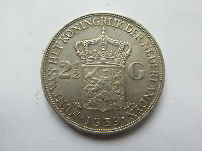 1939 NETHERLANDS HOLLAND SILVER 2.5 GULDEN in EXCELLENT COLLECTABLE CONDITION