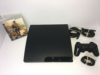 Sony Playstation PS3 SLIM SYSTEM CECH-3001A 160GB W/ Controller & Modern Warfare
