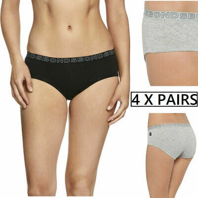 4 x BONDS BOYLEG HIPSTER BRIEFS Underwear Black Grey Undies Bottoms New Panties