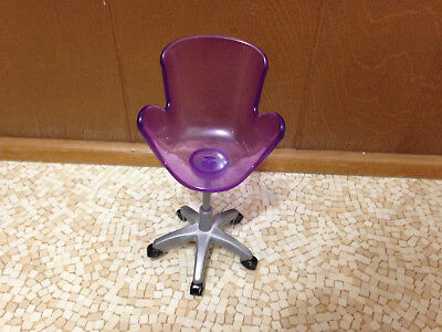 2007 Barbie Doll My Dream House Purple Glam Office Room Manager Chair Furniture