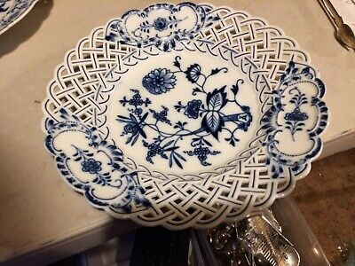 Meissen  19th Century  Porcelain Blue Onion Reticulated Shallow Bowl or Plate #2