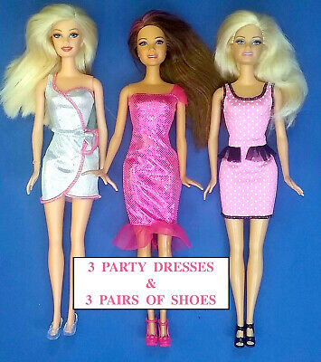 Brand new barbie doll clothes clothing outfit  SET OF 3 DRESSES & SHOES