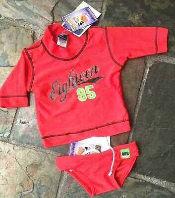Baby boy toddler swimwear OSHKOSH size 0 00 1 Red 2PC set rash vest + bather NEW