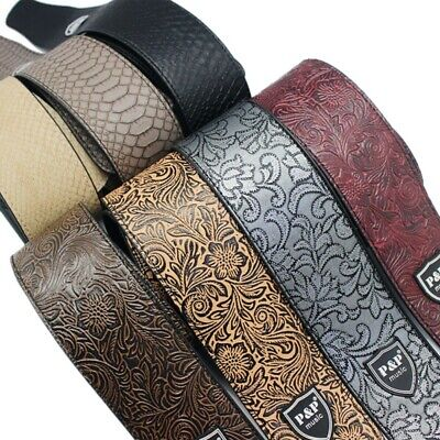 Adjustable PU Leather Thick Strap for Electric Acoustic Guitar Embossed Strap