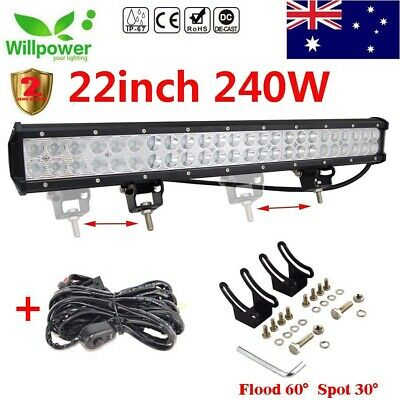"22"" 240W LED WORK LIGHT BAR FLOOD&SPOT COMBO for OFFROAD Jeep UTE SUV 4WD Car"