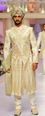 Mens Designer Wedding Groom Elegant Indowestern Sherwani Achcon Suit Coat Jacket