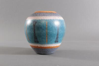 Bauchige Wächtersbach Keramik Vase, 19,5 cm, blau, orange