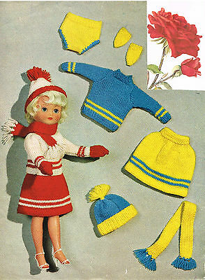 "Dolls clothes knitting pattern.10-12/"" and 14/""-16/""teenage doll. V Doll 93"