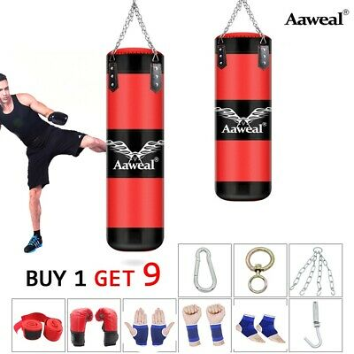 Punch Bag Unfilled Hanging Boxing Set Heavy MMA Punching Training Pads