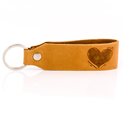 """"""" Samui """" Keychain Engraving Heart Tumatsch-Leder Real Leather in Brown"""