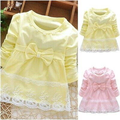 Lace Long Sleeves Bowknot Baby Girls Tulle Dress Knee Length Infants Ball Gown