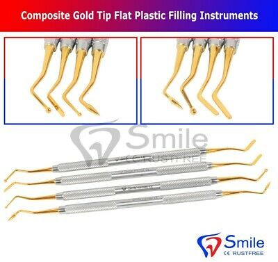 Dental Composite Gold Tip Flat Plastic Filling Instruments Restorative Lab Tools