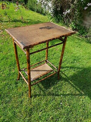 Antique Victorian  tiger Bamboo Side 2 tier Conservatory Plant Table