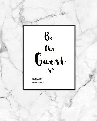 BE OUR GUEST WIFI PASSWORD WALL ART Print  POSTCARD A6 HOME DECOR  GIFT POSTER