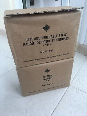 CANADIAN MRE (Lot Of 2 Pcs) Beef And Vegetable Stew + Salmon