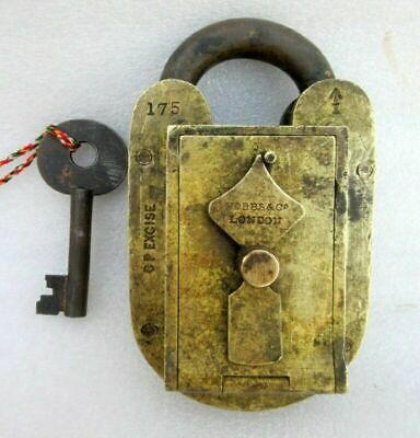 Old Brass HOBBS & CO. LONDON Brand Padlock 175 CP Excise Custom Lock Collectible