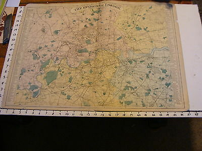 Bacon's LONDON late 1800's map: THE ENVIRONS OF LONDON 12 miles around charming
